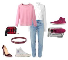 """""""Pink Woman Suit-2"""" by ekaterinajensen on Polyvore featuring Anthony Vaccarello, Christian Louboutin, M.i.h Jeans, Converse, Chanel, Ralph Lauren, FOSSIL and D.A.T.E."""