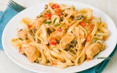 Těstovinový salát s kuřecím masem - recept na dietní oběd Cajun Chicken Pasta, Chicken Pasta Recipes, Shrimp Pasta, Leftover Rotisserie Chicken, Cheap Easy Meals, Top 5, Southern Recipes, Stuffed Peppers, Dinner