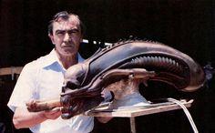 Rambaldi with Alien head sculpture (Giger)