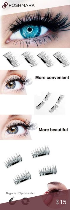 """3D Magnetic False Reusable Eyelashes Single Magnet 3D Magnetic Fake False Reusable Eyelashes Extensions, new. Pack of four lashes (enough for two eyes). No glue required. Magnet size: 0.59"""" x 0.39"""". Type: Magnetic Eyelashes. Material: Synthetic Hair. (A32) Kerry On Fashions Makeup False Eyelashes"""