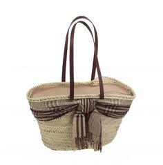Kbas košík palmový so šatkou koženými ramienkami a zipsom