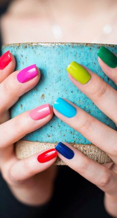 Whether male female cis queer or gender fluid these rainbow nail designs are a chance to explore a world of color. Get Nails, Fancy Nails, Love Nails, Hair And Nails, Gorgeous Nails, Pretty Nails, Multicolored Nails, Rainbow Nails, Best Nail Art Designs
