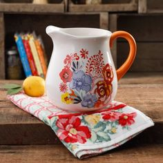 The Pioneer Woman Flea Market Floral 2.6-Liter Decorated Ceramic Pitcher #loghomedecorating