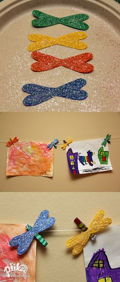 Hang your art with some Dragonfly Clips. An Original #kids #craft by www.piikeastreet.com #piikeastreet