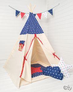 Großes Indianerzelt fürs Kinderzimmer, Weihnachtsgeschenk für Kinder / great christmas gift for kids: teepee for the nursery made by Cozydots via DaWanda.com
