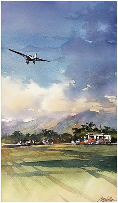 Up Up Thomas W Schaller - Watercolor Inches 07 May via John Fisher Art Aquarelle, Watercolor Images, Watercolor Artists, Watercolor Drawing, Watercolor Techniques, Watercolor Landscape, Watercolor Illustration, Painting & Drawing, Landscape Paintings
