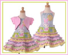 Custom Boutique  Easter Kitty/Bunny dress and shrug by rococokidz, $225.00 Holiday Fashion, Kids Fashion, Holiday Style, Matching Sister Outfits, Sewing Crafts, Sewing Ideas, Wearable Art, Hello Kitty, Kids Outfits