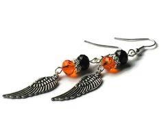 Harley Davidson Wing Earrings Large Orange by sweetdreamzdesigns, $20.00