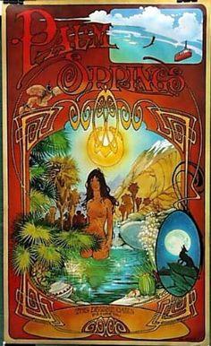 Palm Springs the Desert Oasis, Bill Ogden. 1969 original poster available at The Vintage Poster Gallery in Laguna Beach, CA. Illustrations, Illustration Art, Acid Trip, Desert Oasis, Surf Art, Nudes, Palm Springs, Great Artists, Vintage Posters