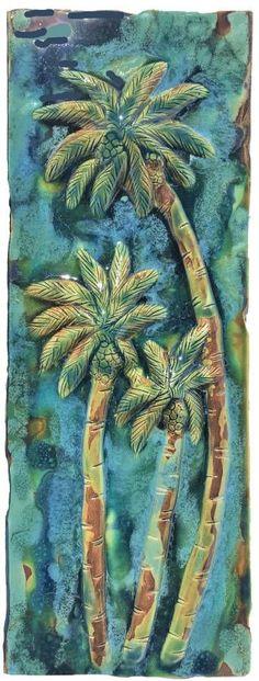 Hawaiian Sea Turtle, Hawaiian Designs, Handmade Kitchens, Tree Wall, Palm Trees, Artwork, Tile, Painting, Shower