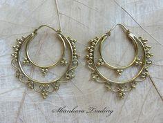 Brass Tribal Earrings, Gypsy Hoop Earrings, Ornate Earrings, Tribal Brass Earrings, Ethnic Earrings, Belly Dance Jewelry, Hoop Earrings