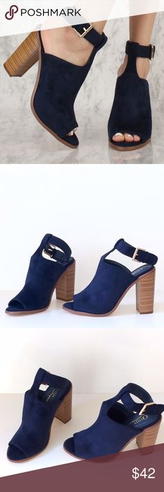 Faux Suede T-Strap Chunky Heels These gorgeous navy faux suede chunky heels have a unique t-strap design that fastens around the ankle and leaves the heel visible.  Fits a size 8/8.5 best. NIB Shoes Heels
