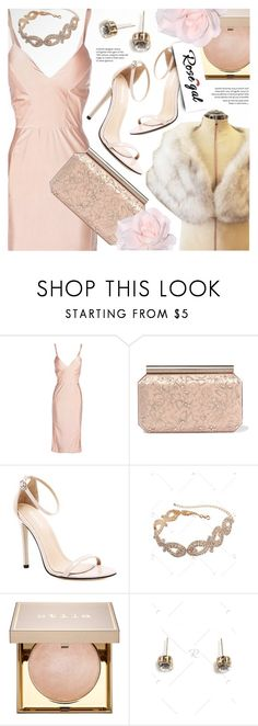 """Rosegal powder pink satin dress"" by vn1ta ❤ liked on Polyvore featuring Oscar de la Renta and Stila"