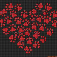 Cross-stitch Heart of Paws Alpha Friendship Bracelet Pattern #10790 - BraceletBook.com