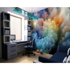 Brewster Home Fashions Moody Clouds Wall Mural Bedroom Decor, Wall Decor, 3d Wall Murals, Lilac Bedroom, Ceiling Murals, Bedroom Murals, Bedroom Sets, Girls Bedroom, Photo Wallpaper