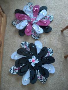 Zebra Print & Hot Pink Flip Flop Wreath by RufflesButtonsNBows, $28.00