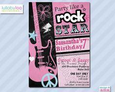Rock Star Birthday Invitations GIRLS 456 Free Printable Party