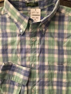 NWT Men ORVIS White Green Blue Plaid Medium Shirt L/S #Orvis #ButtonFront