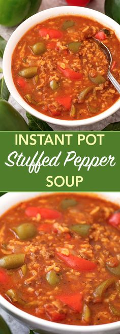 Instant Pot Stuffed Pepper Soup is a comforting and delicious soup that tastes even better than stuffed peppers! A pressure cooker stuffed pepper soup that you will love! simplyhappyfoodie.com #instantpotrecipes #instantpotsoup #instantpotstuffedpeppersoup #pressurecookerstuffedpeppersoup