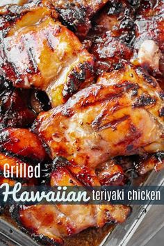 Hawaiian Teriyaki Chicken This Grilled Hawaiian Teriyaki Chicken is the real deal. The sweet and savory Hawaiian teriyaki marinade is THE best and SO easy to make. This Grilled Hawaiian Teriyaki Chicken is the real deal. The sweet and savo. Easy Chicken Recipes, Turkey Recipes, Recipes Dinner, Grilled Dinner Ideas, Salmon Recipes, Healthy Grilled Chicken Recipes, Bbq Dinner Ideas, Bbq Food Ideas, Keto Chicken