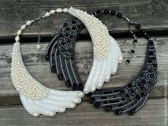 Купить Вышитый воротник 'Крылья Любви' - белый, жемчуг, перламутровый, бежевый, воротник, воротничок