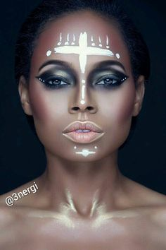 """Tribal"" Energi Loagan - Makeup by Energi www.energiloagan.com Instagram @3nergi  goth gothic indian witch gold stripes pretty bold smokey eye eyes nude lips ebony black model"
