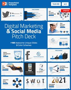 This template contains a great set of social media and digital marketing slides. This trmplate will help you to create a powerful marketing pitch deck. Make a great marketing presentation using this amazing and creative presentation that contains the most useful social media and digital marketing slides, save days of hard work. Marketing Presentation, Business Powerpoint Presentation, Business Powerpoint Templates, Keynote, Creative Powerpoint Presentations, Digital Marketing Business, 400 M, Digital Campaign, Website Web