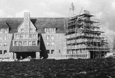 The Shining's Overlook Hotel facade under construction on...