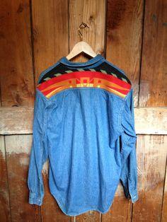 Vintage 90's Blue LEVIS Shirt, Mens M, Pendleton Back Patch, Chambray
