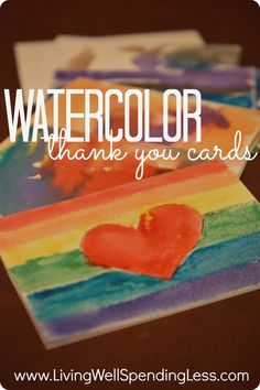 Watercolor Thank You Cards--fun & easy craft project for kids (great language arts practice too!)