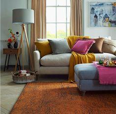 rug - Habitat, throw - Urbanara, sofa, side table, footstool - Loaf