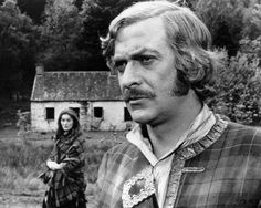 English actor Michael Caine as Alan Breck in 'Kidnapped' directed by Delbert Mann 1971 In the background is Scottish actress Vivien Heilbron as...