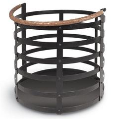For carrying logs in for the fireplace or storing some toasty wool blankets near the sofa, this rustic wrought iron basket is a beautifully versatile solution. A folding, tan, woven leather handle adds a classic, country detail. Furniture Dining Table, Cabin Furniture, Farmhouse Furniture, Rustic Furniture, Modern Furniture, Decorative Accessories, Home Accessories, Bliss Home And Design, Ranch Decor