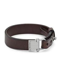 Bracelet en cuir avec maillon fer à cheval JA6584 | FOSSIL®