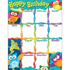 Trend Enterprises Inc T 38452 Happy Birthday Owl Stars Learning Chart Calendar Classroom