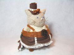 Steampunk cat by TheFatCatFactory. Decorative pincushion, felt cat, sewing accessory, handmade craft.