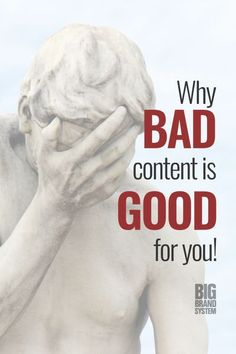 Business building with content marketing isn't for everyone. Take a look around the internet and that's obvious. But what if I told you that their bad content benefits you? It's true: if you're looking to do some growing and avoid making content marketing mistakes, you'll reap the benefits of bad content sown by others. Click this pin to learn more over at BIG Brand System. #onlinemarketing #marketingtips #onlinebusiness #bigbrandsystem #bigleague #thecontentlab