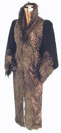 Antique Dress - Mor pictures and detail close ups at source - black and taupe dolmanette with ostrich feather trim