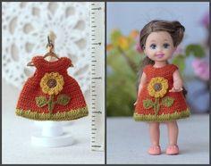 Dollhouse clothing crochet  DRESS  for 4 inch  Kelly  dolls. Doll clothing