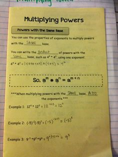 Multiplying Powers Making Mathematics Magical: Rules of Exponents Interactive Notebook Pages