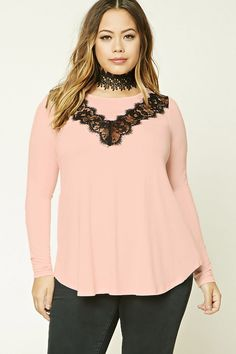Forever 21+ - A knit top featuring eyelash lace panel on front, long sleeves, and a flowy silhouette.