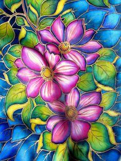 Painted silk flowers