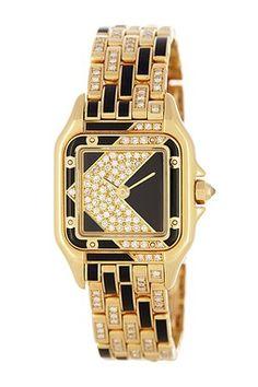 Vintage Cartier Women's Panthere Diamond/Onyx 18K Yellow Gold Watch