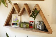 New! Mountain Range Shelf! Made to order and ready to hang! Free shipping as always!  26 long 13 tall 3.5 deep  3 peaks Made from Pine and stained a Walnut finish