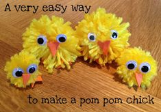These pom pom chicks are so cute and really easy to make as well!! All you need to do to make the pom poms is to wrap wool around a fork ...