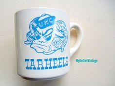 Vintage North Carolina Tarheels Coffee Mug 1982 by WylieOwlVintage, $14.00