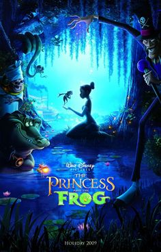 """The princess and the frog Disney film. The film is loosely based on the novel The Frog Princess by E. Baker, which is in turn based on the Brothers Grimm fairy tale """"The Frog Prince"""". A 2009 American animated musical fantasy comedy. Walt Disney, Disney Love, Disney Pixar, Retro Video, New Disney Movies, Disney Animated Movies, Disney Movie Posters, Bon Film, See Movie"""
