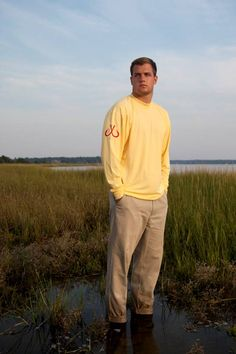 Montauk Tackle Co. Men's Performance Sunset Beach Yellow Crew Neck. Made in the USA.
