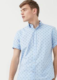 Camisa slim-fit algodão estampada | MANGO MAN