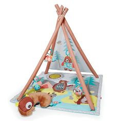 Give your little one the joy of summer camp all year round! The printed mesh backdrop sets a whimsical woodland scene complete with trees and mountains and plenty of forest friends. The tummy time pillow, light-up firefly, musical racoon and more all encourage developmental milestones and sensory skills. It comes complete with more than 17 activities!